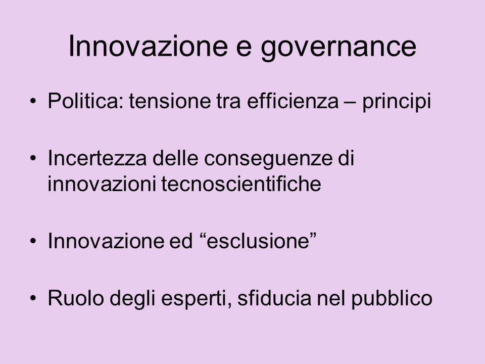 Innovazione e governance Politica: tensione tra efficienza – principi Incertezza delle conseguenze di innovazioni tecnoscientifiche Innovazione ed esc