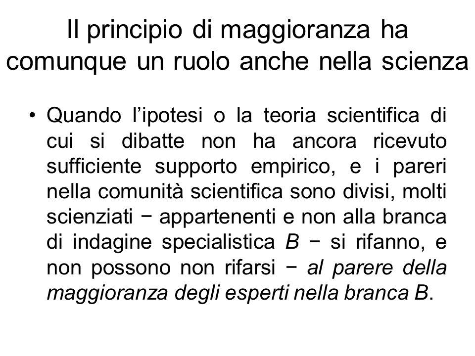 Il principio di maggioranza ha comunque un ruolo anche nella scienza Quando lipotesi o la teoria scientifica di cui si dibatte non ha ancora ricevuto