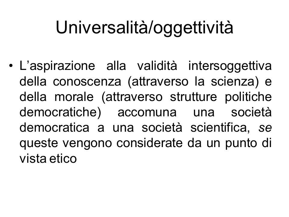 Universalità/oggettività Laspirazione alla validità intersoggettiva della conoscenza (attraverso la scienza) e della morale (attraverso strutture poli