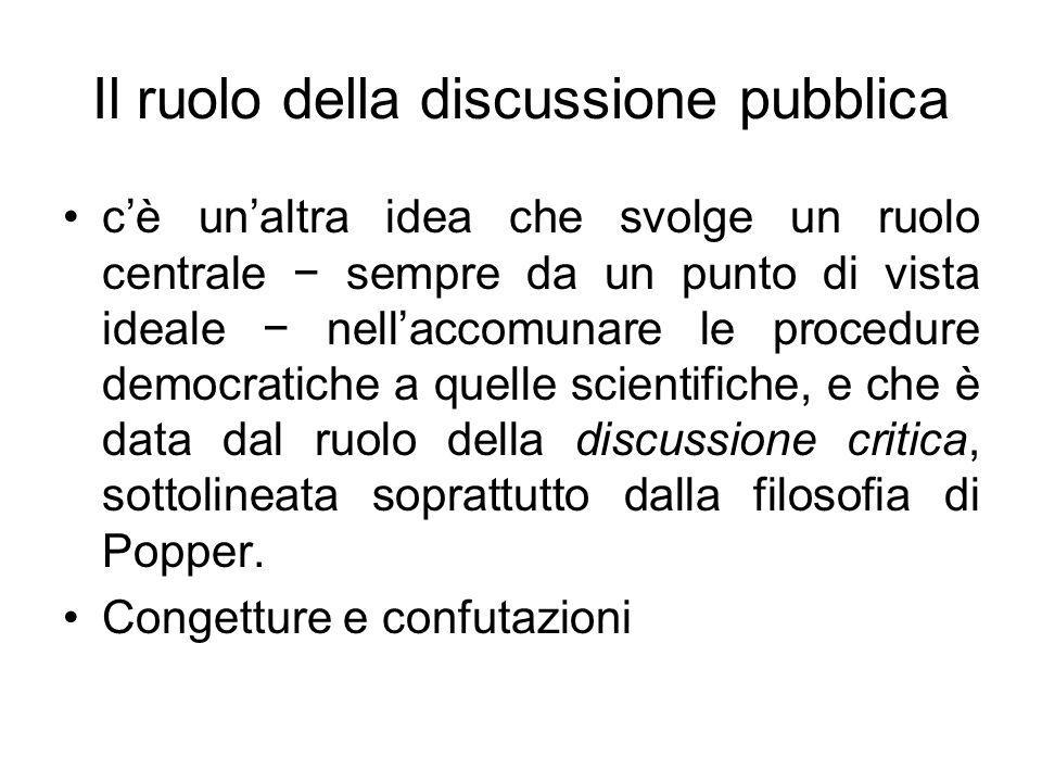 Il ruolo della discussione pubblica cè unaltra idea che svolge un ruolo centrale sempre da un punto di vista ideale nellaccomunare le procedure democr