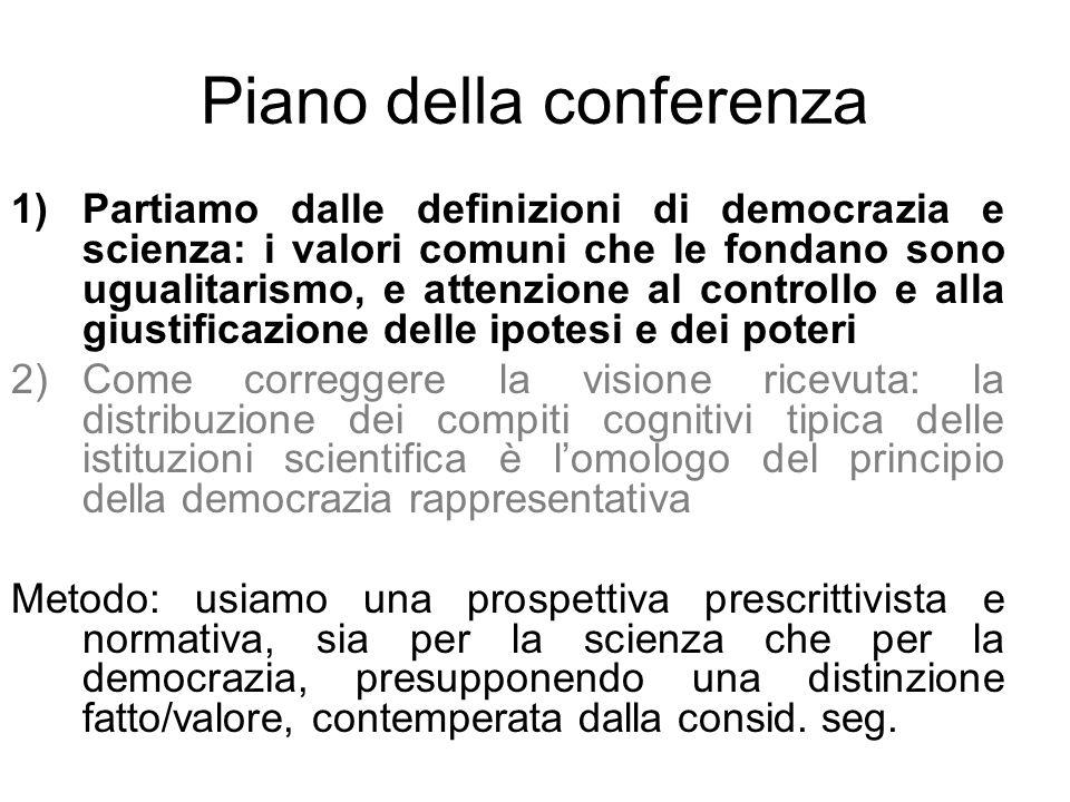 Piano della conferenza 1)Partiamo dalle definizioni di democrazia e scienza: i valori comuni che le fondano sono ugualitarismo, e attenzione al contro
