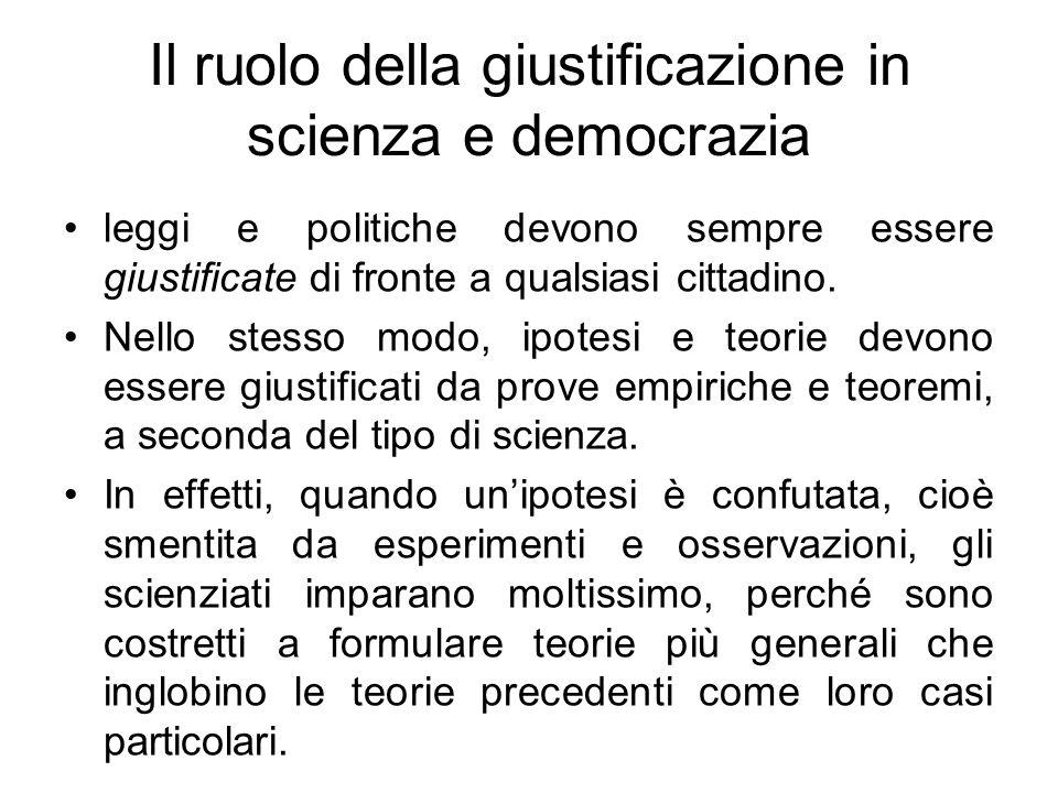 Il ruolo della giustificazione in scienza e democrazia leggi e politiche devono sempre essere giustificate di fronte a qualsiasi cittadino. Nello stes
