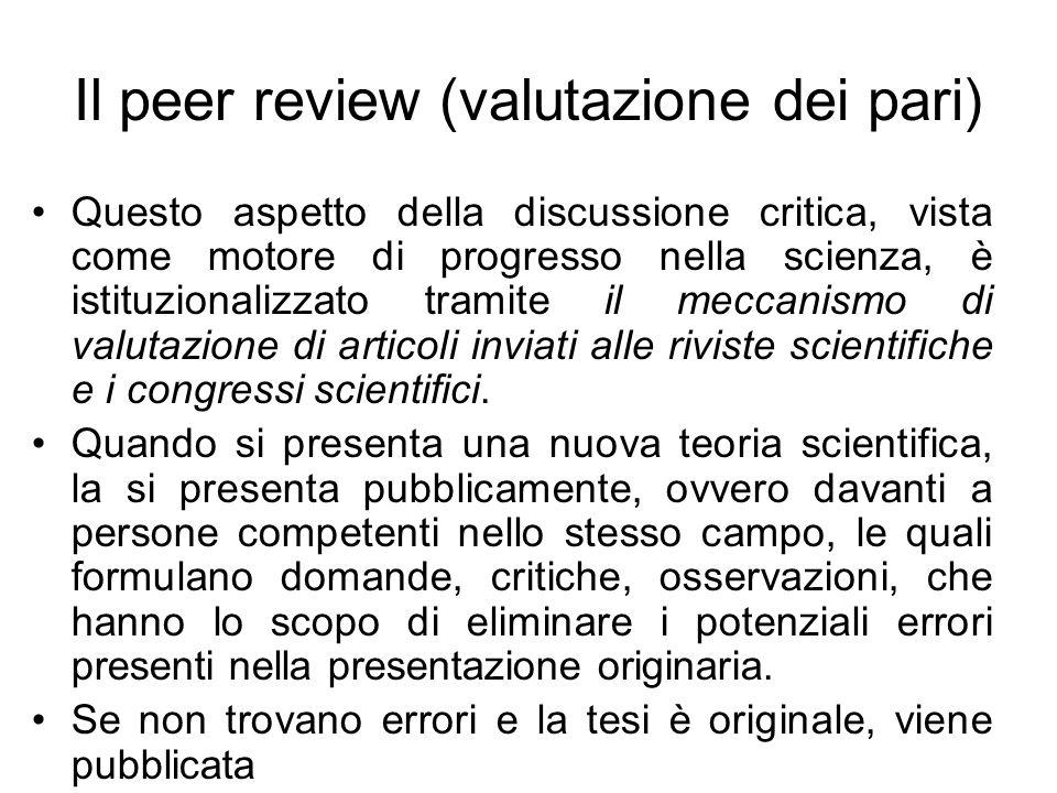 Il peer review (valutazione dei pari) Questo aspetto della discussione critica, vista come motore di progresso nella scienza, è istituzionalizzato tra