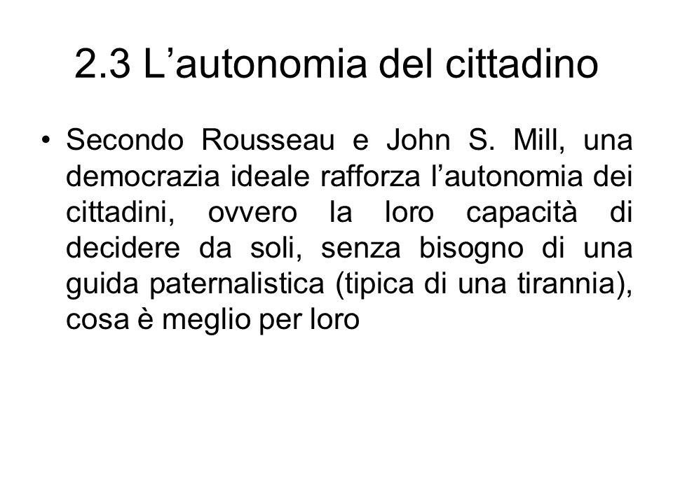 2.3 Lautonomia del cittadino Secondo Rousseau e John S. Mill, una democrazia ideale rafforza lautonomia dei cittadini, ovvero la loro capacità di deci