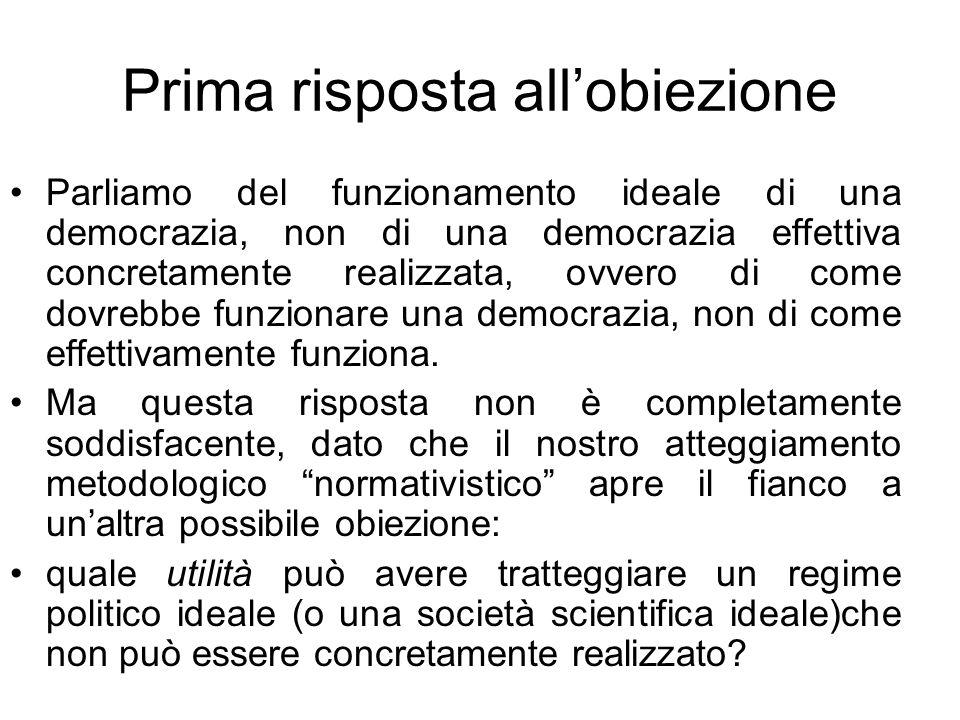 Prima risposta allobiezione Parliamo del funzionamento ideale di una democrazia, non di una democrazia effettiva concretamente realizzata, ovvero di c