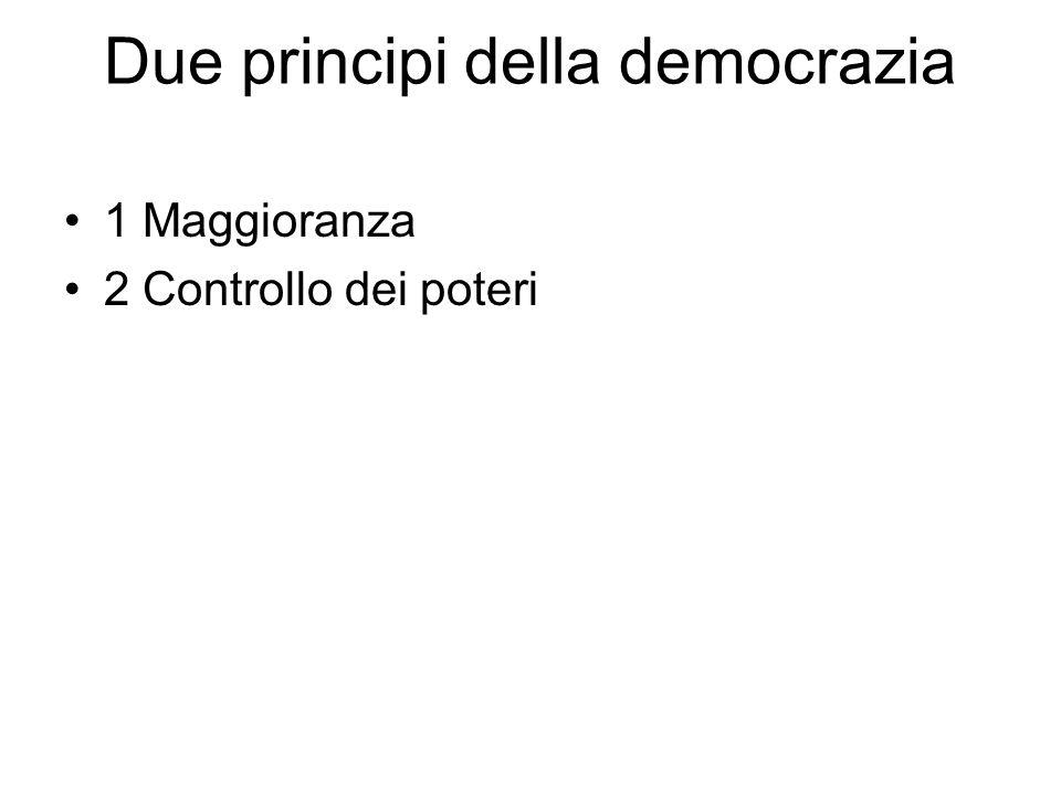 Due principi della democrazia 1 Maggioranza 2 Controllo dei poteri