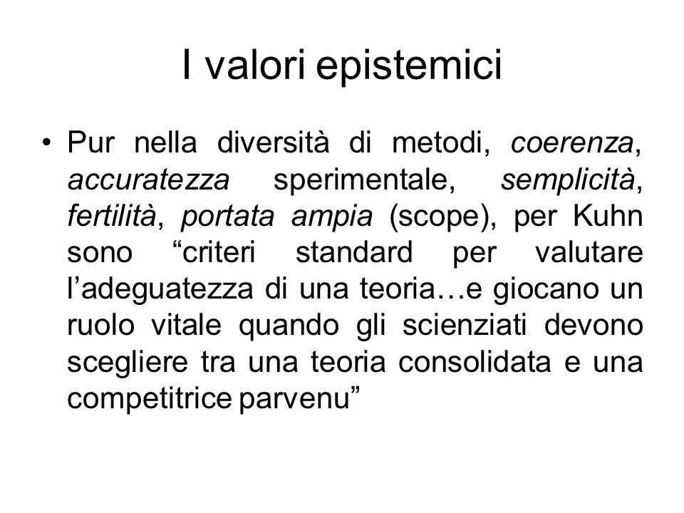I valori epistemici Pur nella diversità di metodi, coerenza, accuratezza sperimentale, semplicità, fertilità, portata ampia (scope), per Kuhn sono cri