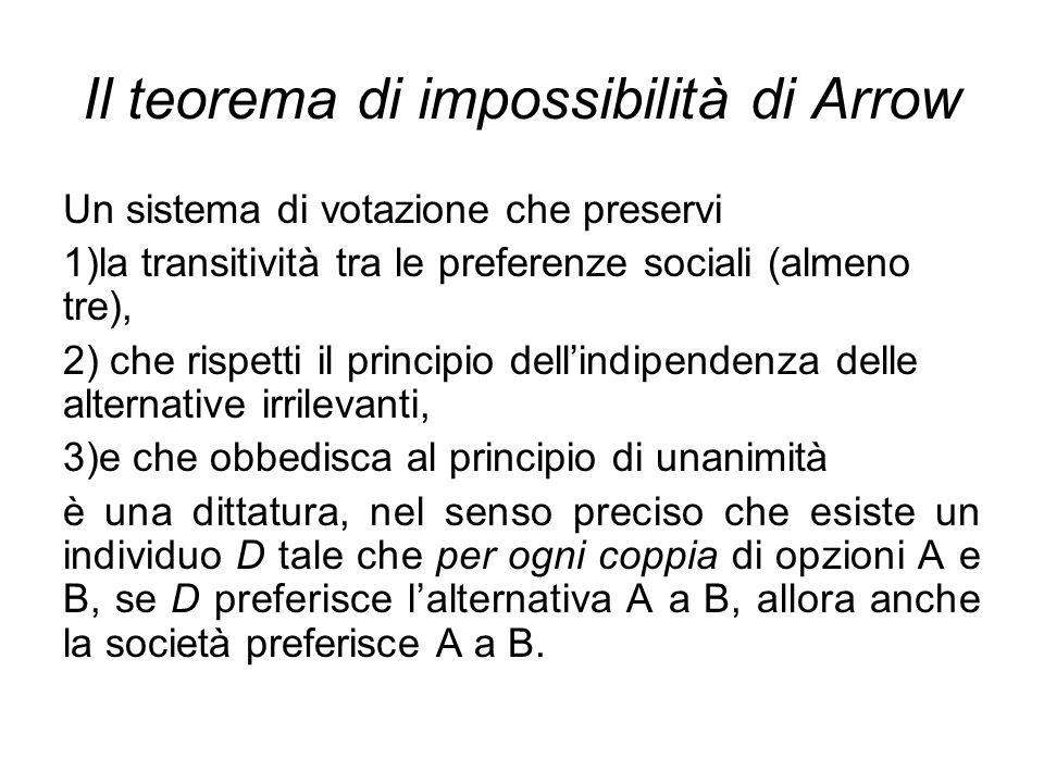 Il teorema di impossibilità di Arrow Un sistema di votazione che preservi 1)la transitività tra le preferenze sociali (almeno tre), 2) che rispetti il