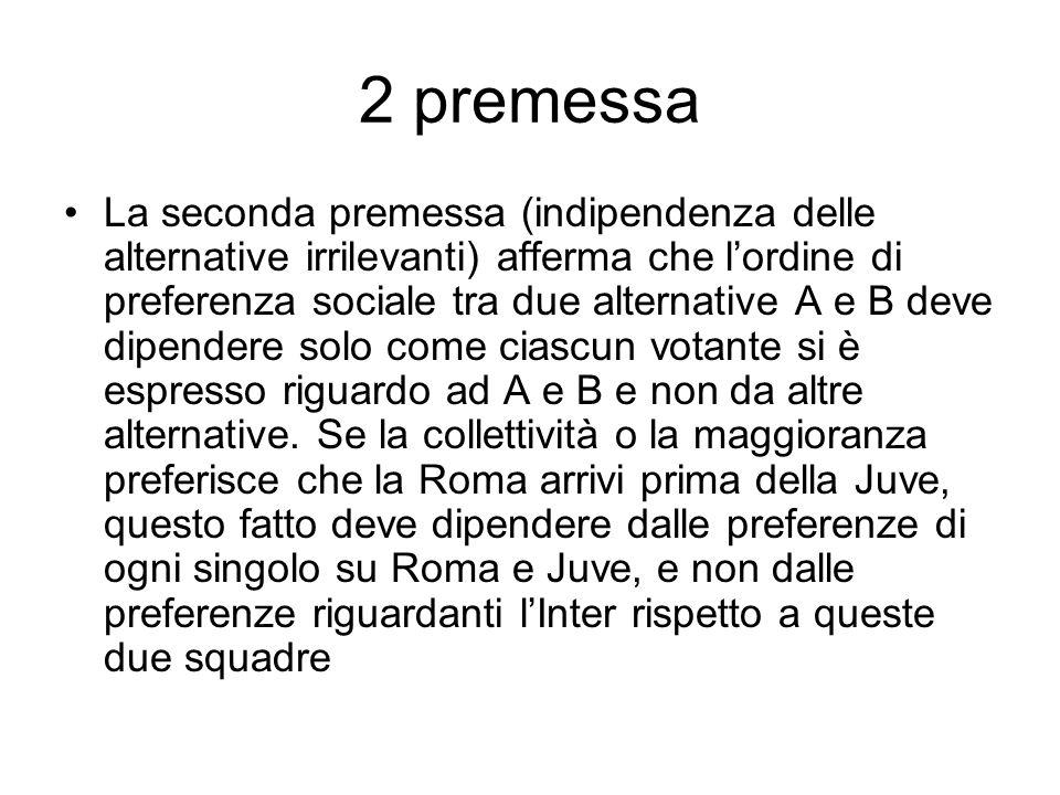 2 premessa La seconda premessa (indipendenza delle alternative irrilevanti) afferma che lordine di preferenza sociale tra due alternative A e B deve d