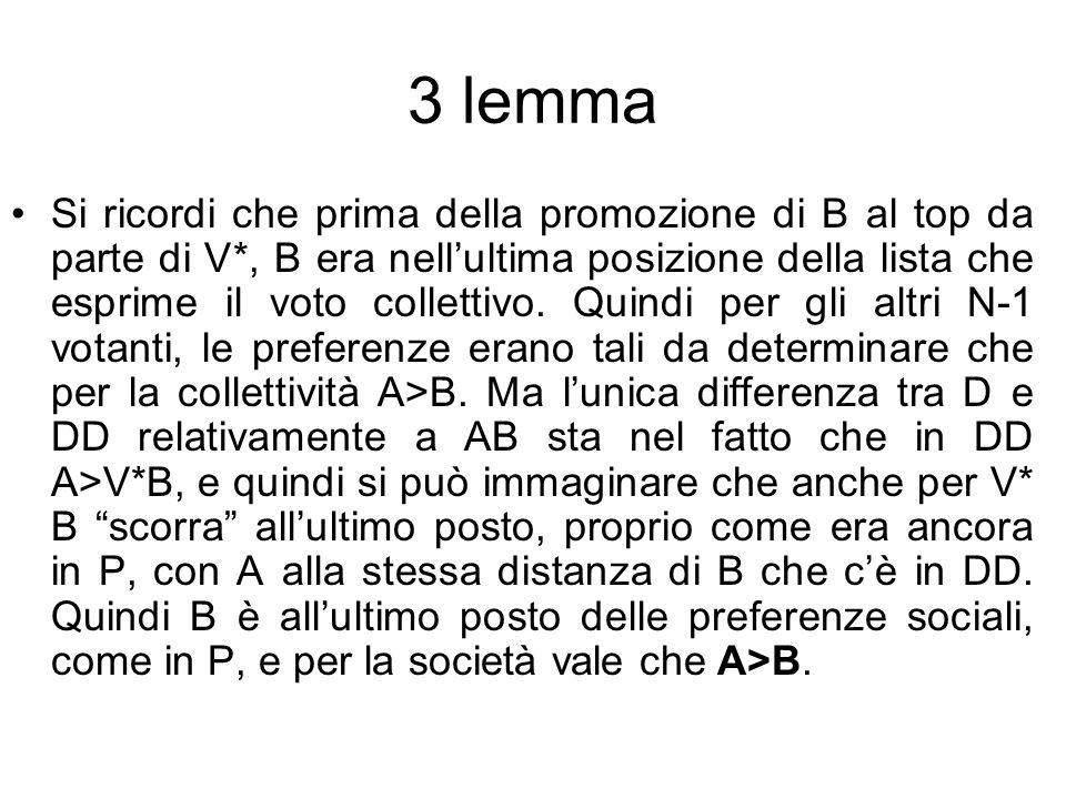 3 lemma Si ricordi che prima della promozione di B al top da parte di V*, B era nellultima posizione della lista che esprime il voto collettivo. Quind