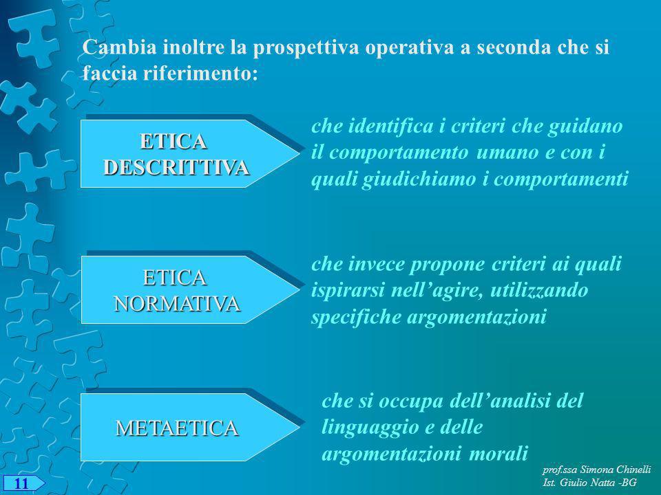 prof.ssa Simona Chinelli Ist. Giulio Natta -BG 11 Cambia inoltre la prospettiva operativa a seconda che si faccia riferimento: ETICADESCRITTIVAETICADE