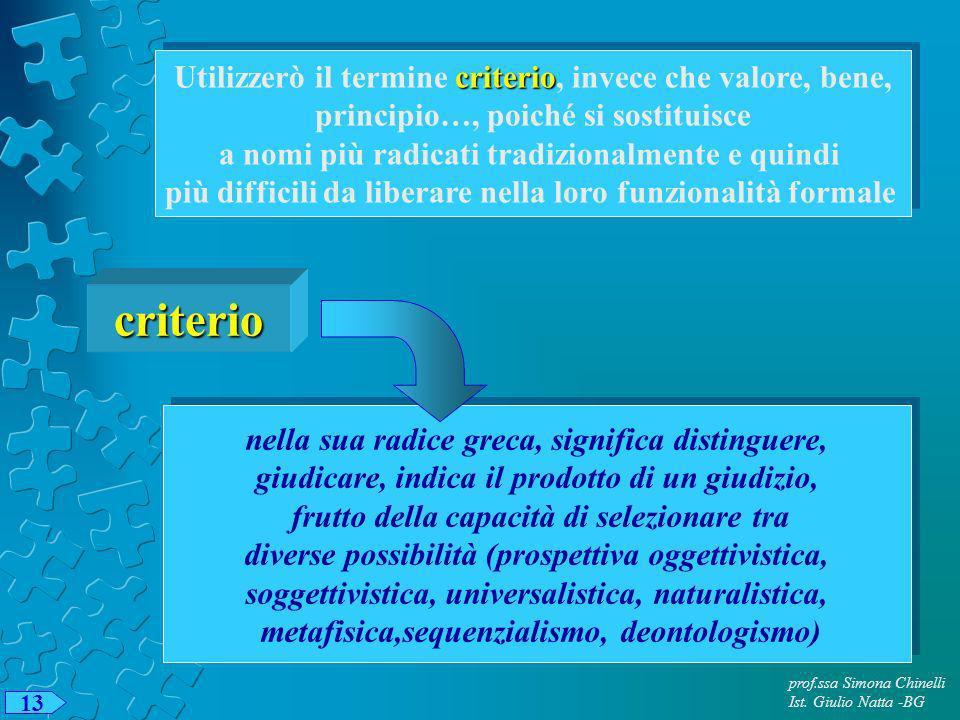 prof.ssa Simona Chinelli Ist. Giulio Natta -BG 13 criterio Utilizzerò il termine criterio, invece che valore, bene, principio…, poiché si sostituisce