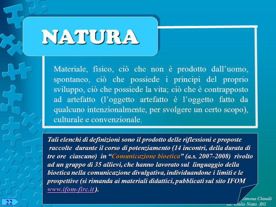 NATURANATURA Materiale, fisico, ciò che non è prodotto dalluomo, spontaneo, ciò che possiede i principi del proprio sviluppo, ciò che possiede la vita