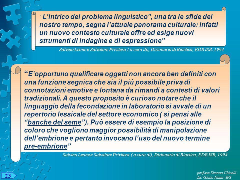 23 prof.ssa Simona Chinelli Ist. Giulio Natta -BG Lintrico del problema linguistico, una tra le sfide del nostro tempo, segna lattuale panorama cultur