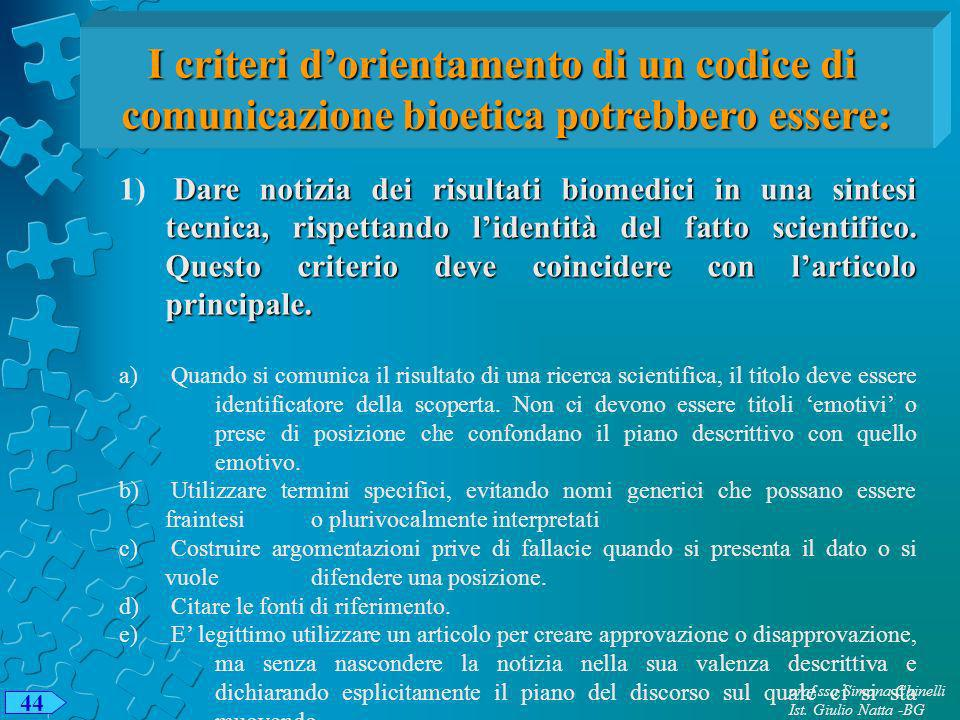 prof.ssa Simona Chinelli Ist. Giulio Natta -BG 44 I criteri dorientamento di un codice di comunicazione bioetica potrebbero essere: Dare notizia dei r
