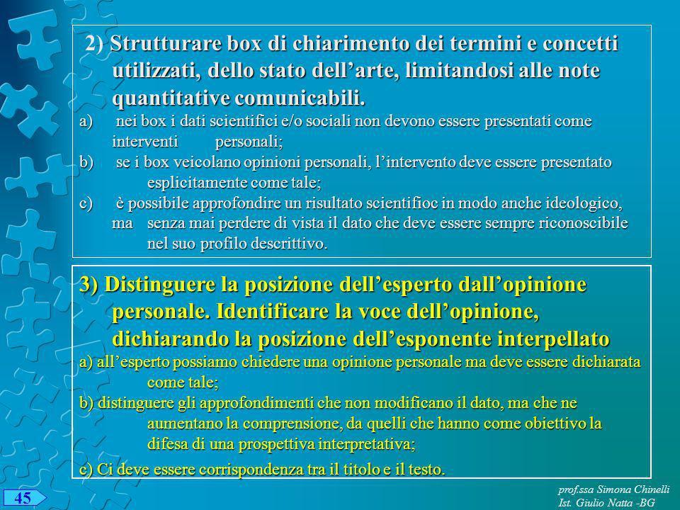prof.ssa Simona Chinelli Ist. Giulio Natta -BG 45 Strutturare box di chiarimento dei termini e concetti utilizzati, dello stato dellarte, limitandosi