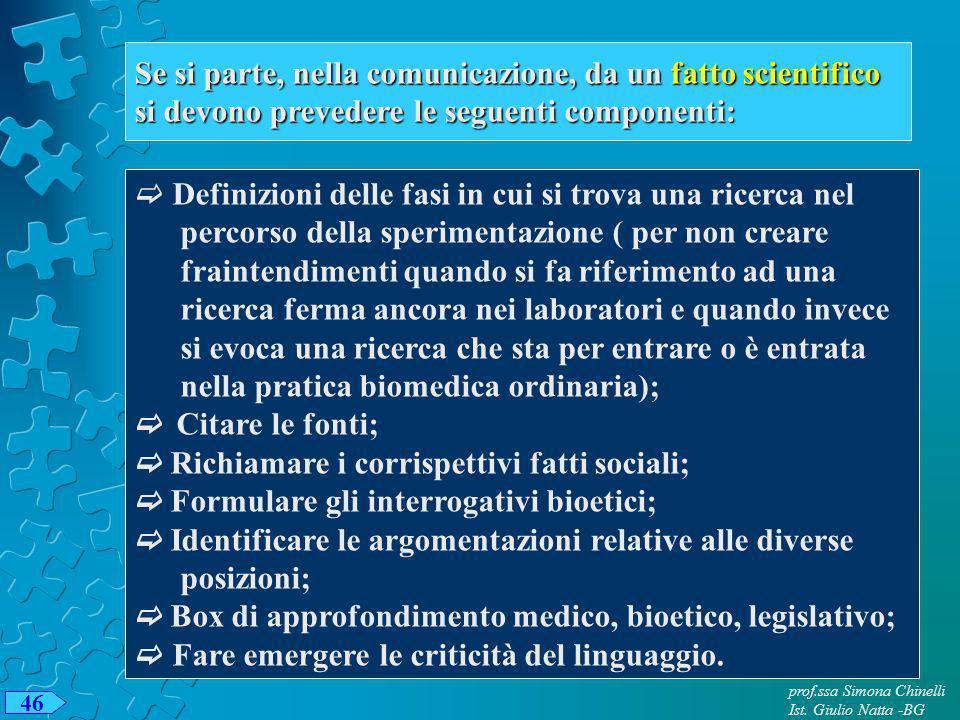 prof.ssa Simona Chinelli Ist. Giulio Natta -BG 46 Se si parte, nella comunicazione, da un fatto scientifico si devono prevedere le seguenti componenti