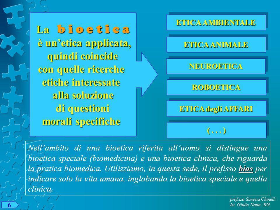 prof.ssa Simona Chinelli Ist. Giulio Natta -BG 6 La b i o e t i c a è unetica applicata, è unetica applicata, quindi coincide quindi coincide con quel
