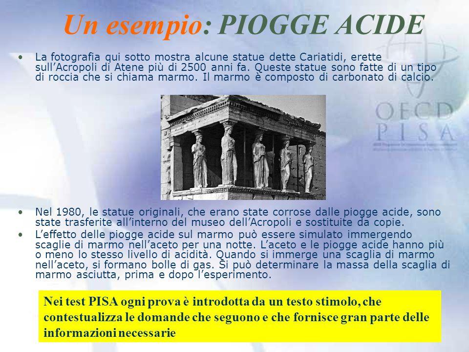 Un esempio: PIOGGE ACIDE La fotografia qui sotto mostra alcune statue dette Cariatidi, erette sullAcropoli di Atene più di 2500 anni fa.