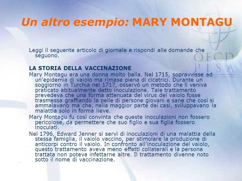 Un altro esempio: MARY MONTAGU Leggi il seguente articolo di giornale e rispondi alle domande che seguono.