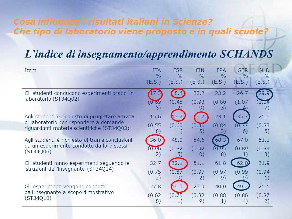 Cosa influenza i risultati italiani in Scienze.