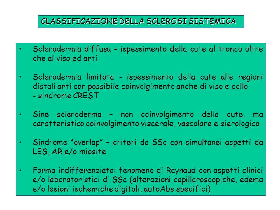 CLASSIFICAZIONE DELLA SCLEROSI SISTEMICA Sclerodermia diffusa – ispessimento della cute al tronco oltre che al viso ed arti Sclerodermia limitata - is