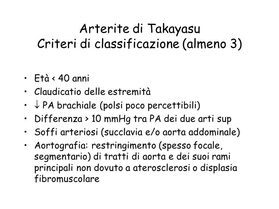 Arterite di Takayasu Criteri di classificazione (almeno 3) Età < 40 anni Claudicatio delle estremità PA brachiale (polsi poco percettibili) Differenza