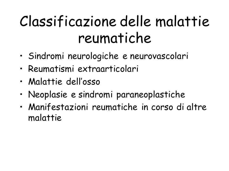 Classificazione delle malattie reumatiche Sindromi neurologiche e neurovascolari Reumatismi extraarticolari Malattie dellosso Neoplasie e sindromi par