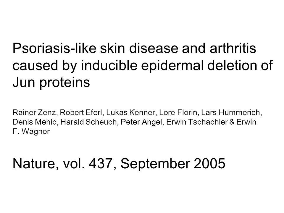 Psoriasis-like skin disease and arthritis caused by inducible epidermal deletion of Jun proteins Rainer Zenz, Robert Eferl, Lukas Kenner, Lore Florin,