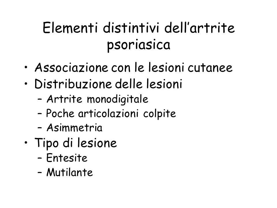 Elementi distintivi dellartrite psoriasica Associazione con le lesioni cutanee Distribuzione delle lesioni –Artrite monodigitale –Poche articolazioni