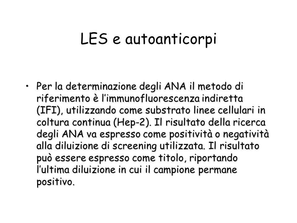 Per la determinazione degli ANA il metodo di riferimento è limmunofluorescenza indiretta (IFI), utilizzando come substrato linee cellulari in coltura