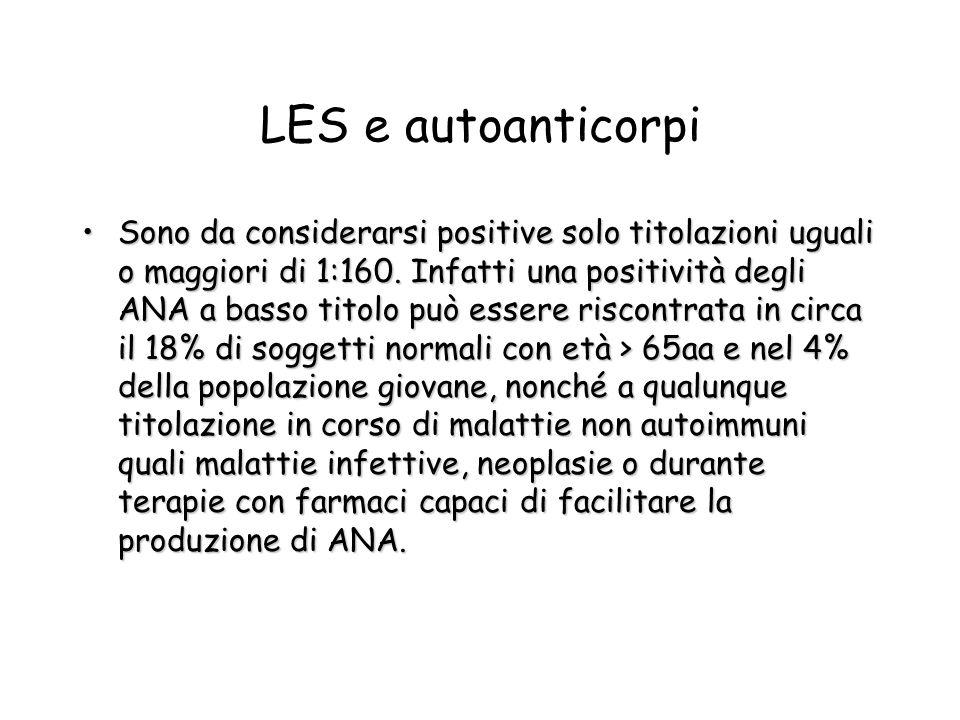 LES e autoanticorpi Sono da considerarsi positive solo titolazioni uguali o maggiori di 1:160. Infatti una positività degli ANA a basso titolo può ess