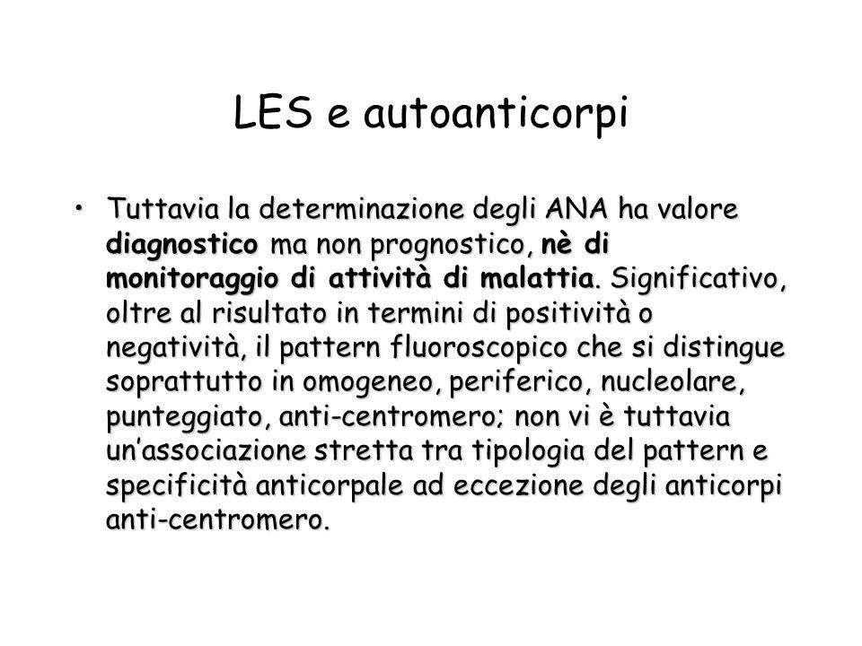 LES e autoanticorpi Tuttavia la determinazione degli ANA ha valore diagnostico ma non prognostico, nè di monitoraggio di attività di malattia. Signifi