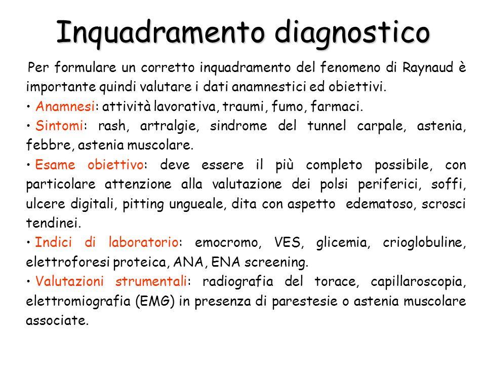 Inquadramento diagnostico Per formulare un corretto inquadramento del fenomeno di Raynaud è importante quindi valutare i dati anamnestici ed obiettivi