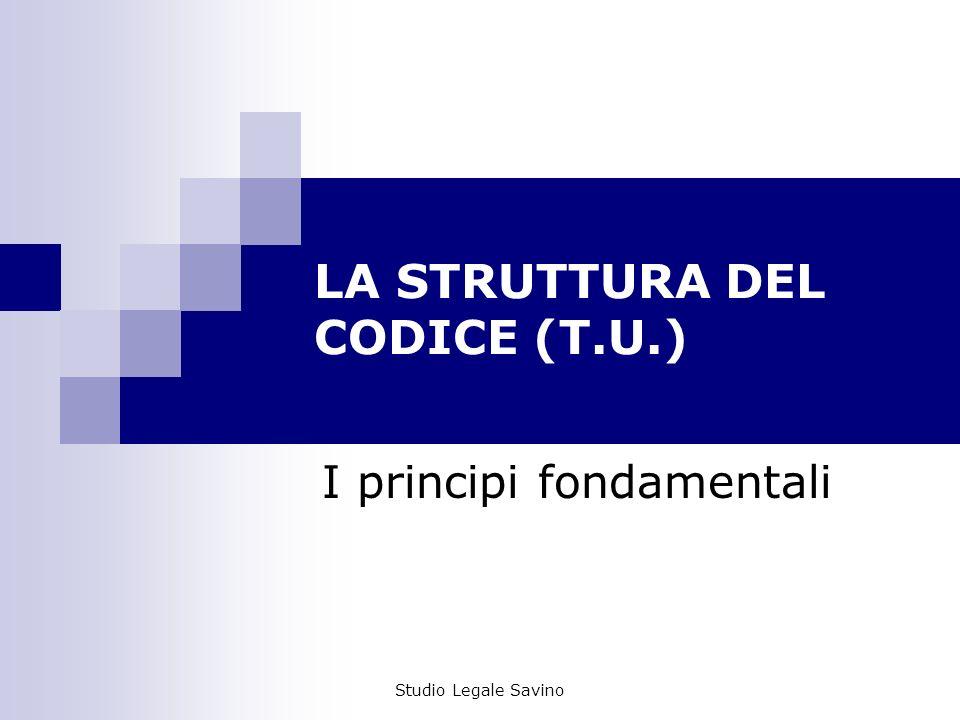 Studio Legale Savino LA STRUTTURA DEL CODICE (T.U.) I principi fondamentali