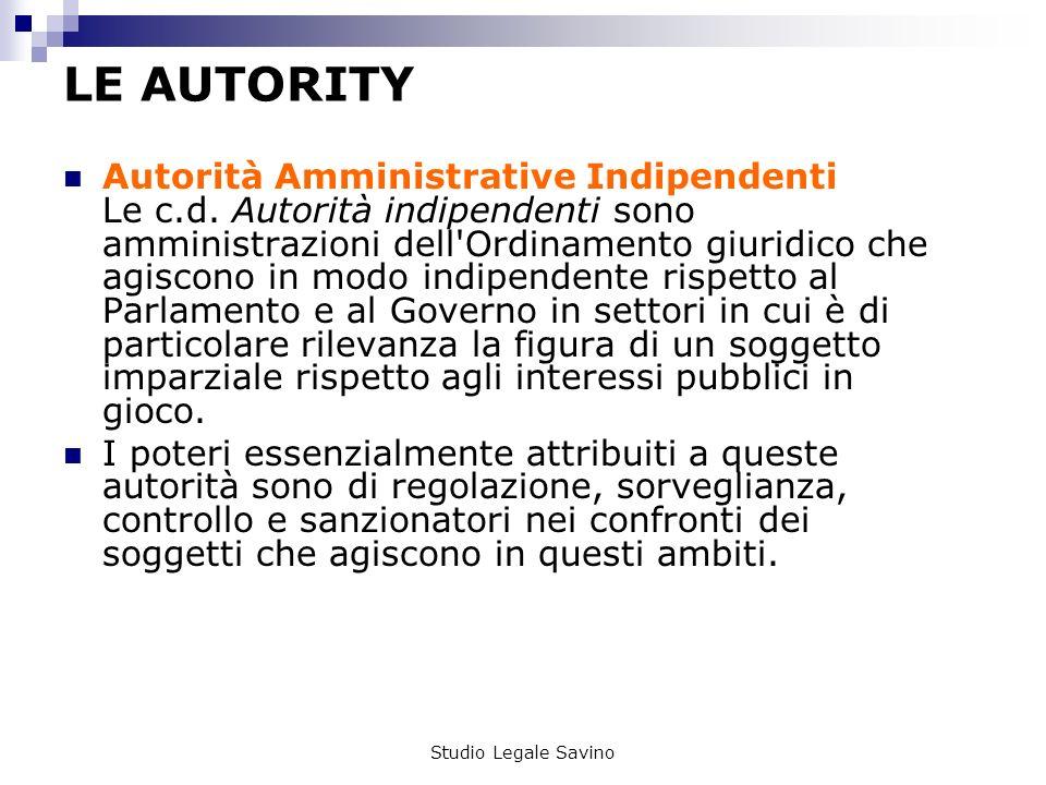 Studio Legale Savino LE AUTORITY Autorità Amministrative Indipendenti Le c.d.