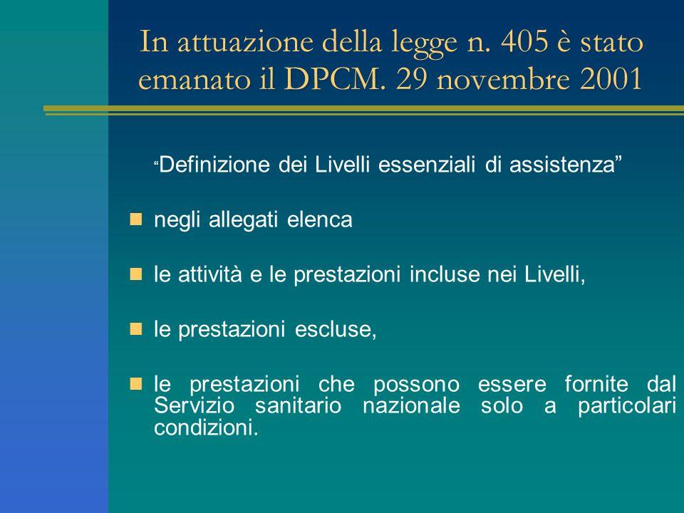 In attuazione della legge n. 405 è stato emanato il DPCM. 29 novembre 2001 Definizione dei Livelli essenziali di assistenza negli allegati elenca le a