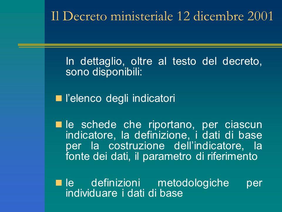 Il Decreto ministeriale 12 dicembre 2001 In dettaglio, oltre al testo del decreto, sono disponibili: lelenco degli indicatori le schede che riportano,