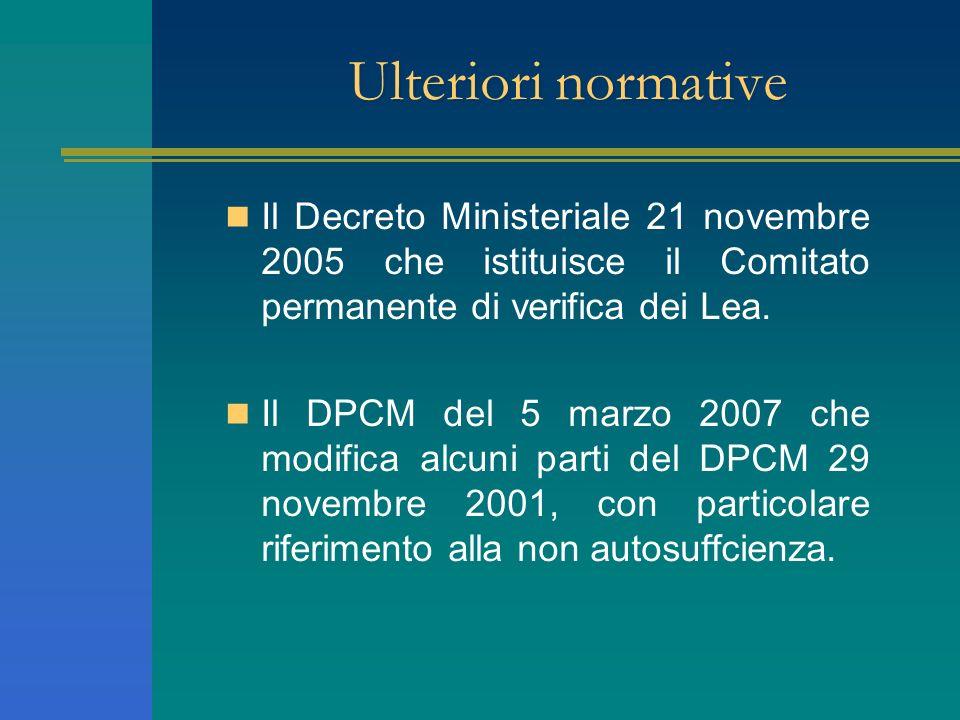Ulteriori normative Il Decreto Ministeriale 21 novembre 2005 che istituisce il Comitato permanente di verifica dei Lea. Il DPCM del 5 marzo 2007 che m