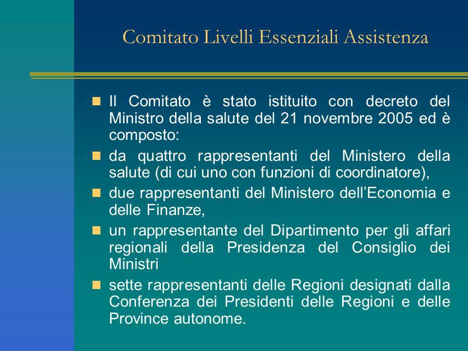 Comitato Livelli Essenziali Assistenza Il Comitato è stato istituito con decreto del Ministro della salute del 21 novembre 2005 ed è composto: da quat