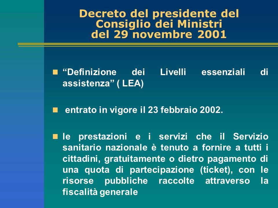Decreto del presidente del Consiglio dei Ministri del 29 novembre 2001 Definizione dei Livelli essenziali di assistenza ( LEA) entrato in vigore il 23