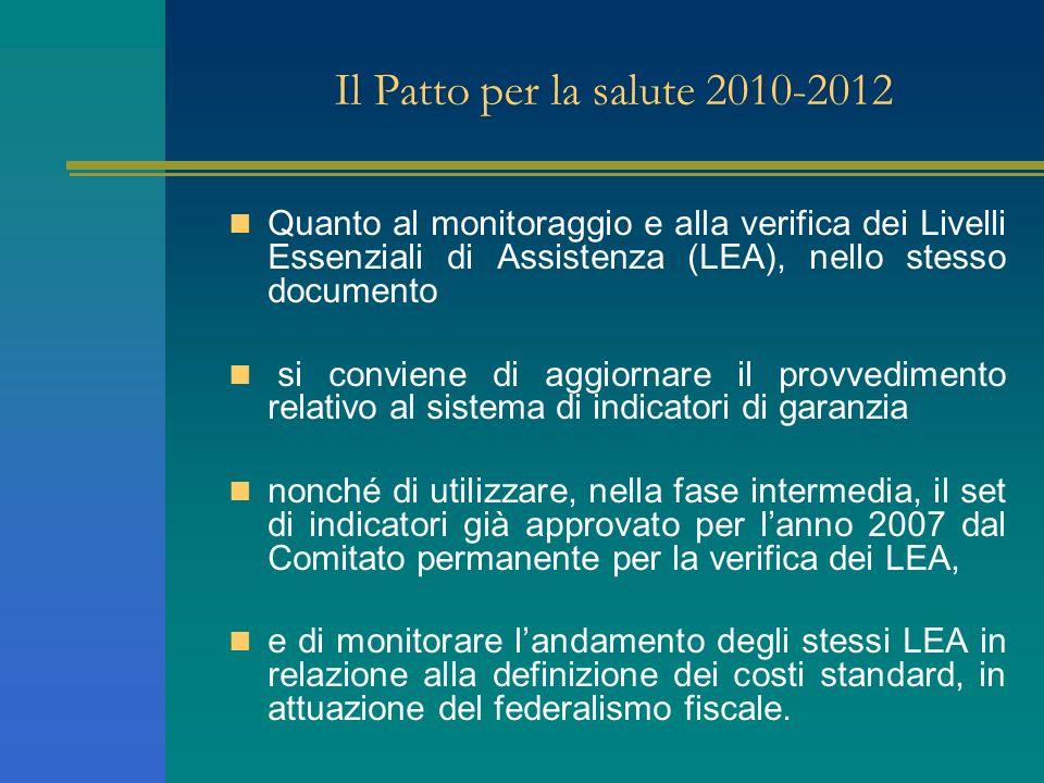 Il Patto per la salute 2010-2012 Quanto al monitoraggio e alla verifica dei Livelli Essenziali di Assistenza (LEA), nello stesso documento si conviene