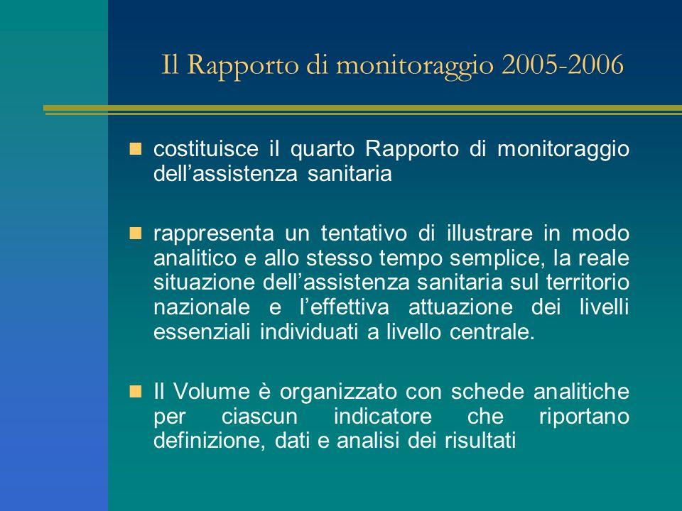 Il Rapporto di monitoraggio 2005-2006 costituisce il quarto Rapporto di monitoraggio dellassistenza sanitaria rappresenta un tentativo di illustrare i