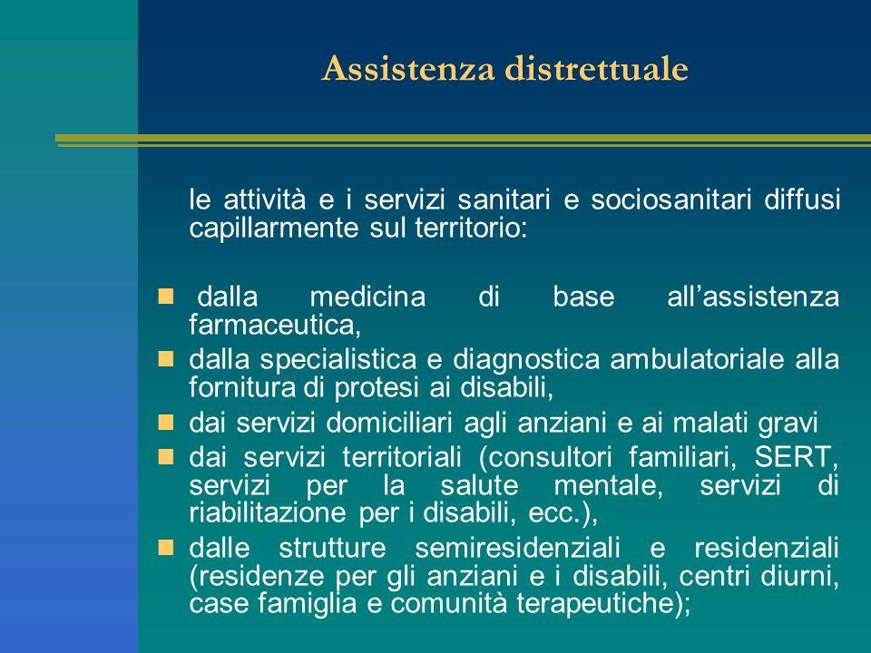 Assistenza distrettuale le attività e i servizi sanitari e sociosanitari diffusi capillarmente sul territorio: dalla medicina di base allassistenza fa