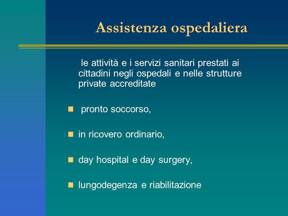 Assistenza ospedaliera le attività e i servizi sanitari prestati ai cittadini negli ospedali e nelle strutture private accreditate pronto soccorso, in
