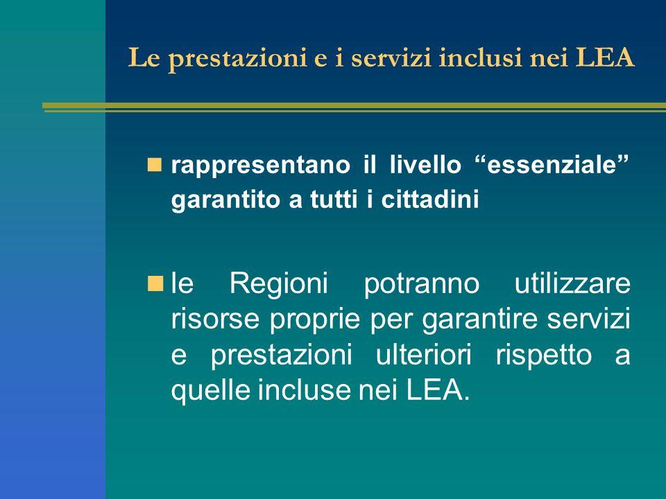 Le prestazioni e i servizi inclusi nei LEA rappresentano il livello essenziale garantito a tutti i cittadini le Regioni potranno utilizzare risorse pr