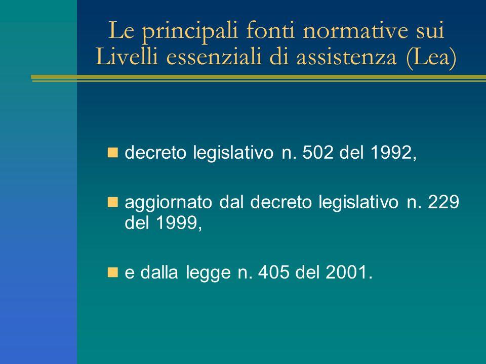 Le principali fonti normative sui Livelli essenziali di assistenza (Lea) decreto legislativo n. 502 del 1992, aggiornato dal decreto legislativo n. 22