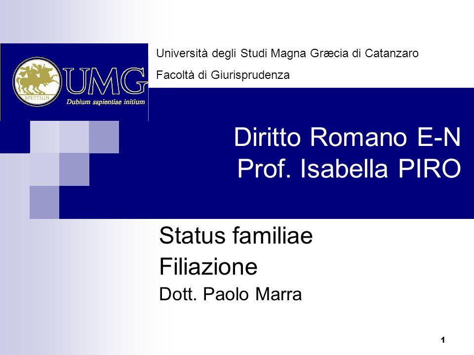 1 Diritto Romano E-N Prof. Isabella PIRO Status familiae Filiazione Dott. Paolo Marra Università degli Studi Magna Græcia di Catanzaro Facoltà di Giur