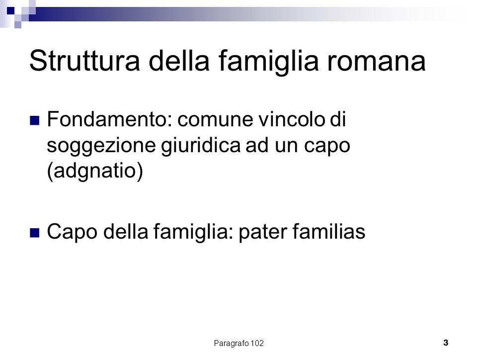 Paragrafo 1024 Struttura della famiglia romana SUI IURIS ALIENI IURIS Pater familias Mater familias Filius familias Nepos Persona in mancipio Nurus Patria potestas Manus Mancipium Unione Filiazione
