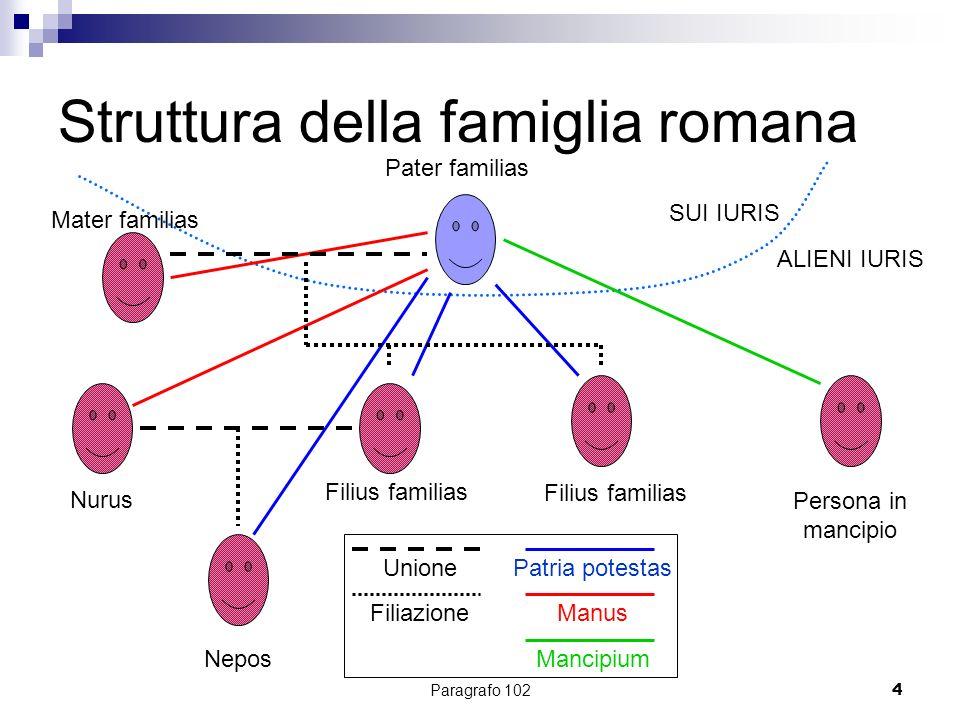 Paragrafo 1024 Struttura della famiglia romana SUI IURIS ALIENI IURIS Pater familias Mater familias Filius familias Nepos Persona in mancipio Nurus Pa
